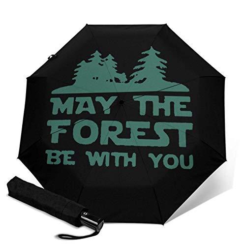 May The Forest Be With YouAutomatischer Dreifach Faltbarer Regenschirm Sonnenschirm Sonnenschutz