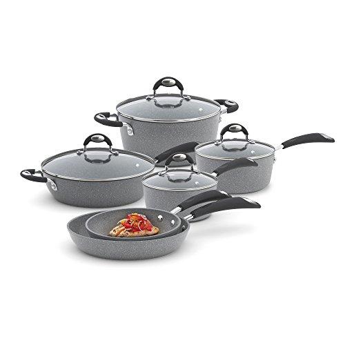Bialetti 10 Piece Nonstick Granito Cookware Set, Oven Safe, Gray