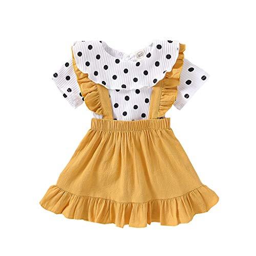 Conjunto de ropa para niñas de 0 a 5 años de edad, conjunto de ropa de bebé, amarillo, 3-4 Años