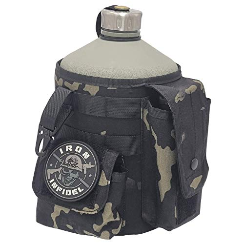 Iron Infidel Battle Bottle - One Gallon Insulated Water Bottle - Cover Made From Mil Spec Cordura, Mag Pouch, Molle, and Utility Clip - Use for Gym, Range, Camping, Hiking, Hunting - Multicam Black