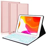 New iPad 10.2 8th 7th Generation 2019 Keyboard Case,Boriyuan 7 Colors Backlit Detachable Keyboard Slim Leather Folio Smart Cover for iPad 10.2 Inch/iPad Air 10.5'(3rd Gen)/iPad Pro 10.5 inch–Rose Gold