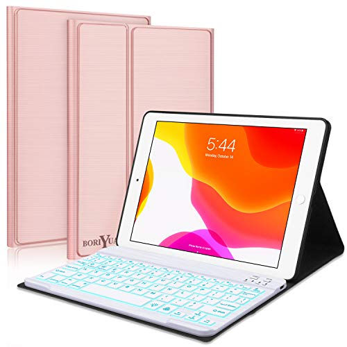 New iPad 10.2 8th 7th Generation 2019 Keyboard Case,Boriyuan 7 Colors Backlit Detachable Keyboard Slim Leather Folio Smart Cover for iPad 10.2 Inch/iPad Air 10.5(3rd Gen)/iPad Pro 10.5 inch