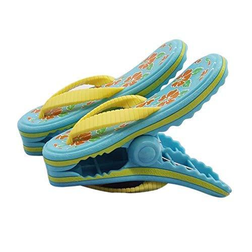 bozitian Wäscheklammern Badetuch Klammern Flip Flop Strandtuch Clips Boca Stil - Zwei Paar Flip Flops - Für Tägliche Wäsche Großes Strandtuch Handtuchclips - 2 STÜCKE
