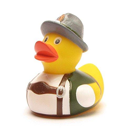 Duckshop I Trachten Bayer Badeente I Quietscheente I L: 8 cm I inkl. Badeenten-Schlüsselanhänger im Set