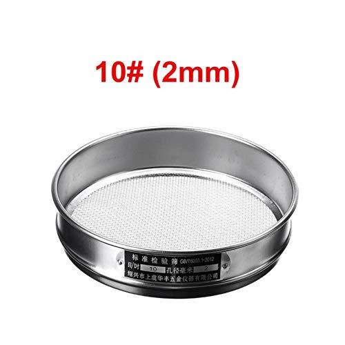 HTRO Riddle Sieb Mesh 20cm Edelstahl 1-2,5 mm Aperture Lab Standard Siebe Schüttler Bodensiebanalyse Test Siebgarten, 10