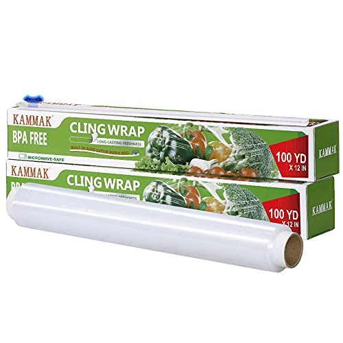 Plastic Wrap with Slide Cutter 12 Inch X 300 Square Foot Roll KAMMAK Cling Wrap for Food BPA-Free Microwave-Safe Kitchens Quick Cut Food Service Film (Pack of 2)