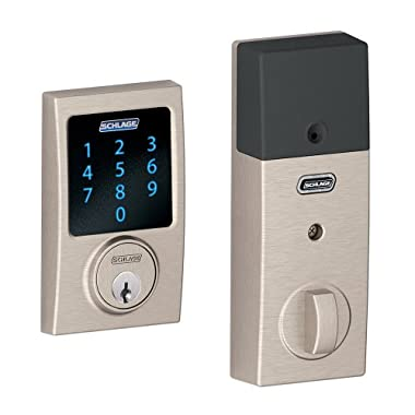 Schlage Z-Wave Connect Century Touchscreen Deadbolt with Built-In Alarm, Works with Alexa via SmartThings, Wink or Iris, Satin Nickel, BE469 CEN 619