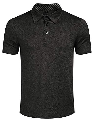 Kusonn Polo Homme à Manches Courtes de Coton Polyester Noir M