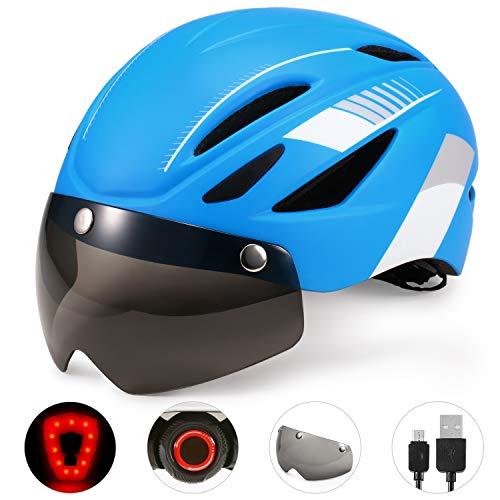 Leepesx Fahrradhelm Motorradhelm mit wiederaufladbarer wasserdichter Hintergrundbeleuchtung Abnehmbarer Magnetvisier-UV-Schutz für Männer Frauen