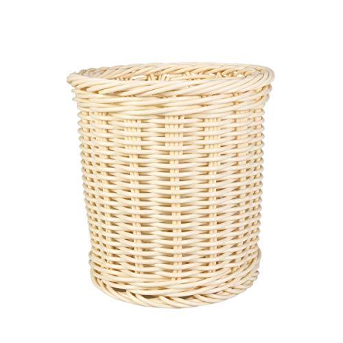 TOPBATHY rattan ablagekorb schreibtisch veranstalter stift container box teedose make-up pinsel halter stehen (beige kleine größe)