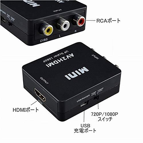『RCA to HDMI変換コンバーター コンポジットをHDMIに変換アダプタ AV to HDMI 変換器 音声転送 720/1080P切り替え USB給電 ブラック』の4枚目の画像