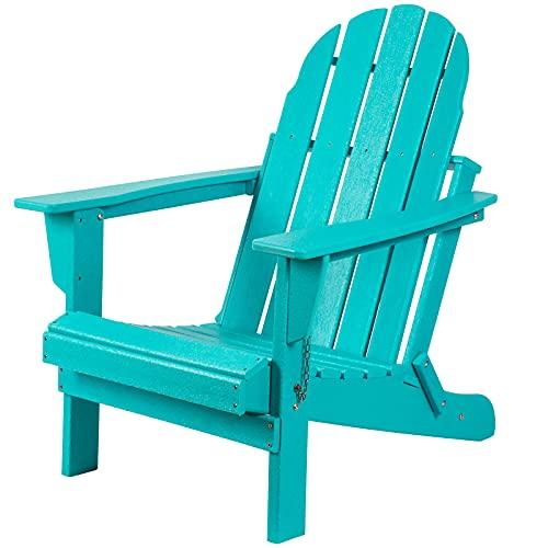 Gettati HDPE Plast/harts klassisk utomhus vadderad stol för uteplats däck trädgård bakgård och gräsmatta möbler aqua