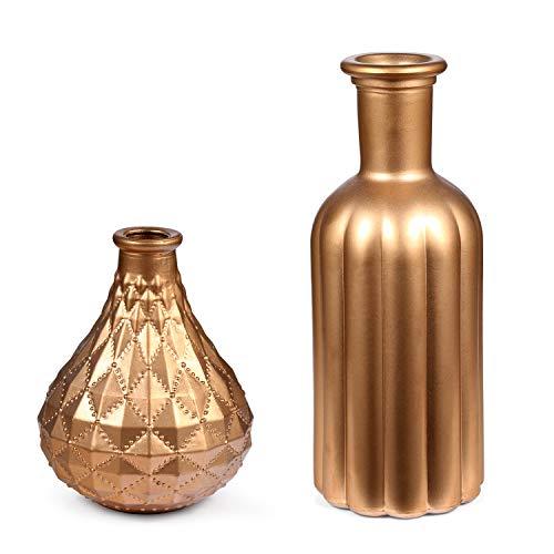 LCCL Kleine Goldene Glasvasen modernes Design Vase für Blumengestecke, Hochzeit, Party, Fenster, Heimdekoration, 2 Stück
