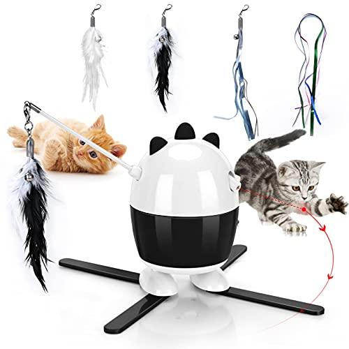Giocattoli per gatti interattivi, giocattoli a LED per gatti e giocattoli in piume di gatto 2 in 1, giocattoli per esercizi per gatti per interni (Nero)