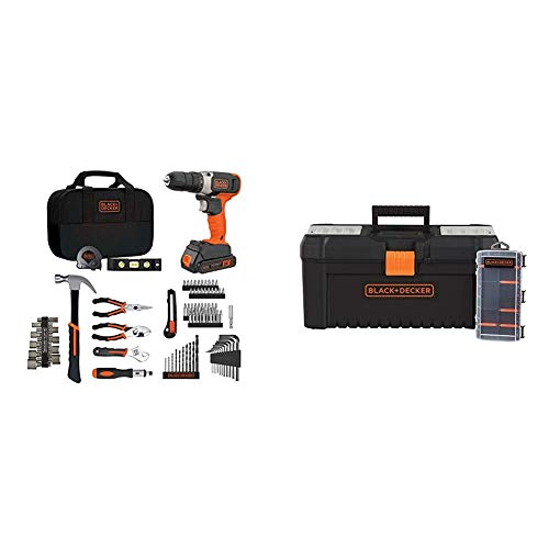 beyond by BLACK+DECKER Home Tool Kit with 20V MAX Drill/Driver, 83-Piece & Tool Box & Organizer, 16-Inch, 10-Compartment (BDPK70284C1AEV & BDST60096AEV)