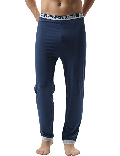 DAVID ARCHY Men#039s 2 Pack Premium Quality Cotton Solid Knit Pajama PantsSNavy