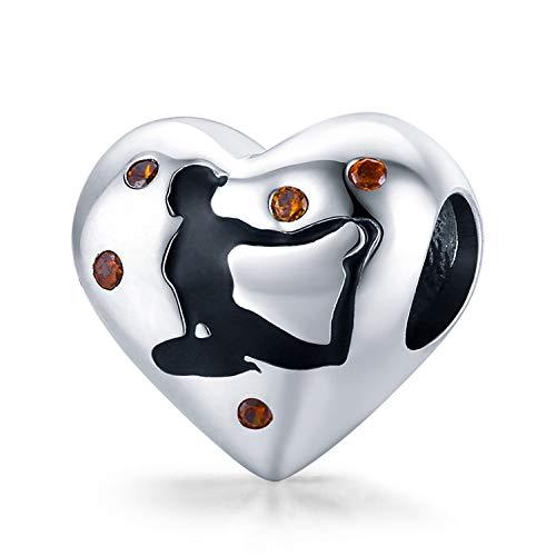 ZiFouDou Abalorio para Pulsera Pandora&Chamilia,Dijes De Plata De Ley 925,Originales Bead Charm para Collare- Posición De Yoga