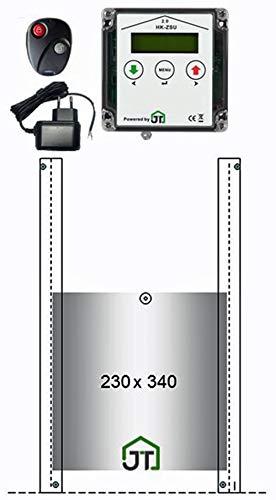 JOSTechnik HK2 mit Zeitschaltuhr, Hühnerklappe 230x340 mm, Fernbedienung, echte Nothalt- BZW. Notöffnungsfunktion, Steuerung für Anlocklicht