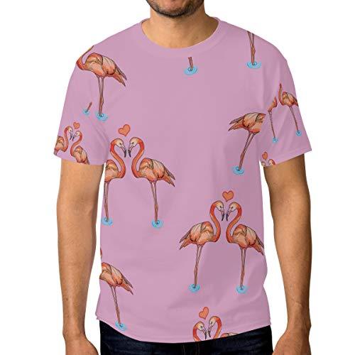 Camisetas para hombre de color rosa flamencos corazones personalizados verano casual camisetas Multicolor multicolor M