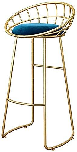 NJ barkruk zwart hoge stoel metaal ontbijt tas blauw fluweel eetkamer moderne hoge stoel kruk 3.14 75cm(29.5 Inch) 1 stuk.