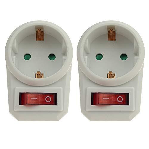 2 Zwischen-Steckdosen mit Schalter inkl. Kindersicherung weiss (spart Strom und schont die Umwelt)