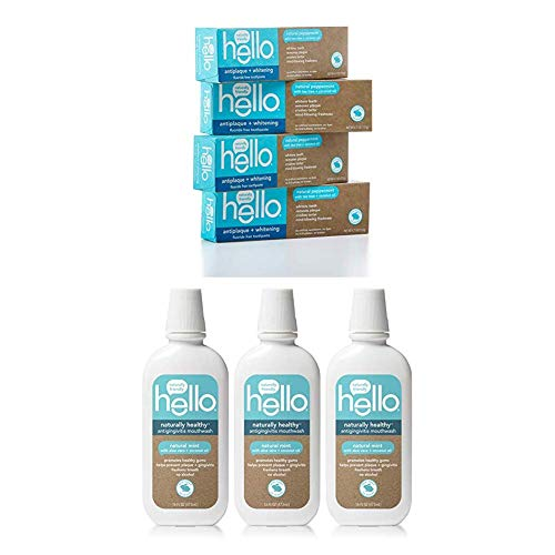 Hello Oral Care Fluoride Free Bundle: Antigingivitis Mouthwash (3 ct) and Antiplaque & Whitening Toothpaste (4 ct)