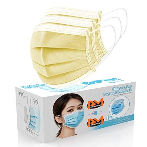 50 PCsFace Mask Disposable Non Surgical 3-Ply Earloop Mouth Cover Masks- Yellow