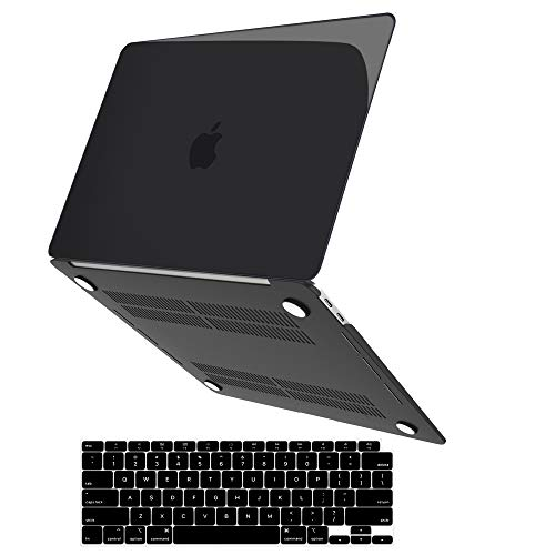 MacBook Air 13 Inch Case 2020 2019 2018 Release A2337 M1 A2179 A1932, JGOO Slim Clear Plastic Hard Shell Case & Keyboard Cover Compatible with Mac Air 13.3 with Retina Display & Touch ID, Black