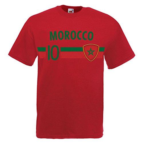 Fußball WM T-Shirt Fan Artikel Nummer 10 - Weltmeisterschaft 2018 - Länder Trikot Jersey Herren Damen Kinder Marokko Marocco XL
