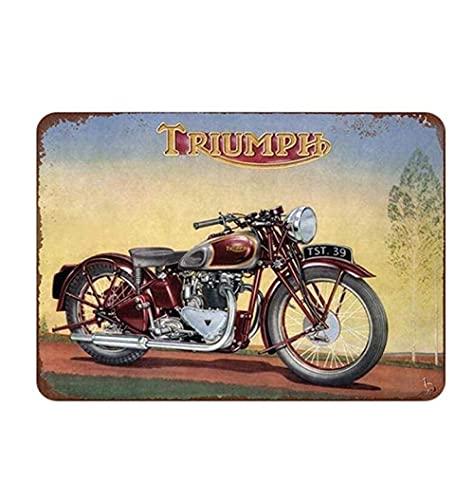 shenguang Placa de Letrero de Metal Pintura de hojalata Motos de Motocicleta Vintage Retro Imagen de Hierro Bar Café Garaje Gimnasio Pub Decoración del hogar 20X30 cm