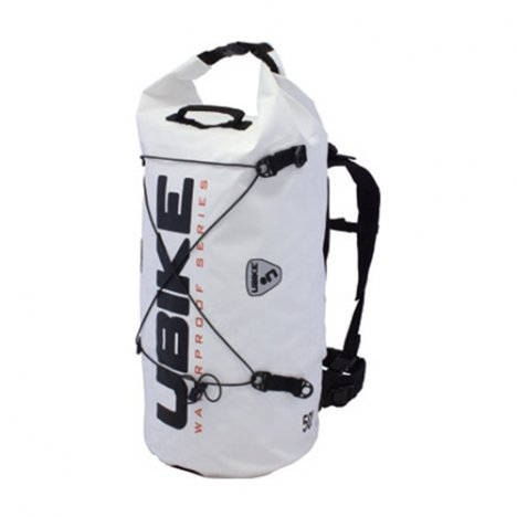 UBIKE UBK-WFUN07/01 Sac à dos Modulable étanche Cylinder, 50L, Blanc/Noir