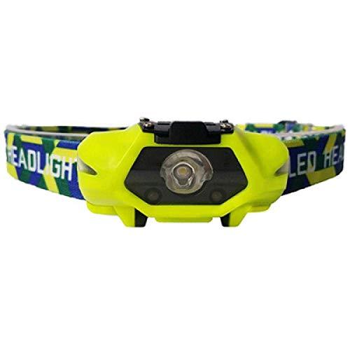 Faros delanteros Potentes faros delanteros LED Faros delanteros LED para correr con batería AA Perfecto para pescar Caminar Camping Leer Senderismo 4 modos de iluminación Head Light Green