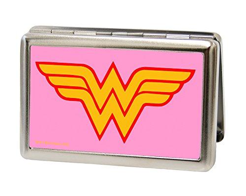 Buckle-Down Business Card Holder - Wonder Woman Logo Pink - Large