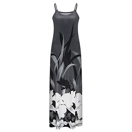 Winkey - Vestido de verano para mujer, cuello en V, estilo bohemio, con estampado floral, maxivestido, sin mangas, para la playa gris S