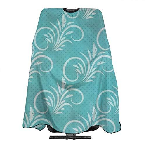 Blue Western Flourish Tablier de coiffure imperméable pour homme et femme Motif floral Bleu 140 x 168 cm