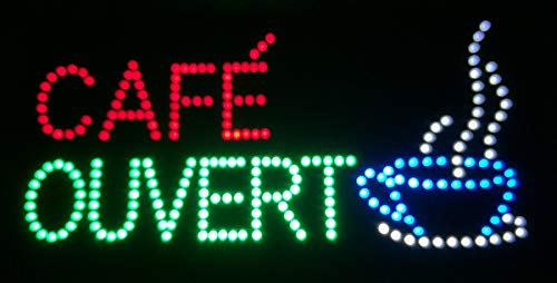 Enseigne lumineuse à LED Cafe Ouvert 60x30x2.5cm.