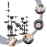 BWM.Co Grey Large Multi-Layer Cat Tree Cat Tower Cat Condo Cat Activity Tree Hammock Scratching...