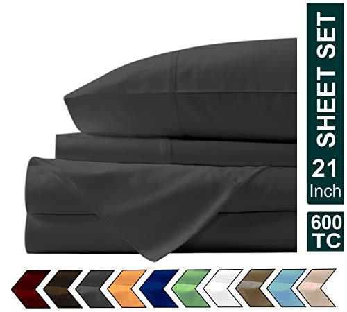 Airomis Presents 4 PC Sheet Set 100% Organic Cotton 600 TC Premium Sheet Set, Soft & Luxurious Long Staple Italian Finish Comfy Bedding Set Comes with 21' Deep Pocket Queen Elephant Grey
