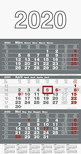 rido/idé 7033310 rido idé Wandkalender/Drei-Monats-Kalender triplan 3 (1 Blatt = 3 Monate, 300 x 520 mm, Kalendarium 2020)