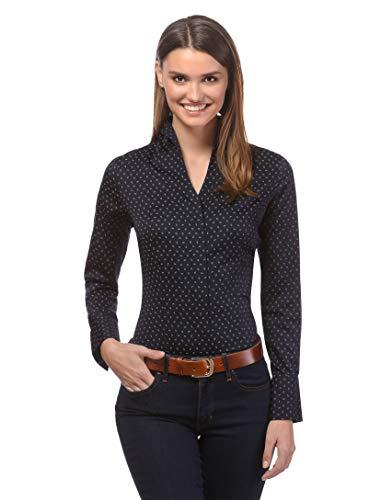 Vincenzo Boretti Damen Bluse mit Kelchkragen leicht tailliert 100% Baumwolle bügelleicht Langarm Hemdbluse mit Stehkragen elegant festlich auch für Business schwarz/grau 38
