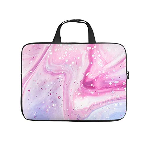 Pink Watercolour Waves Laptop Bag Wear-Resistant Protective Case for Laptops Pattern Notebook Bag for University Work Business