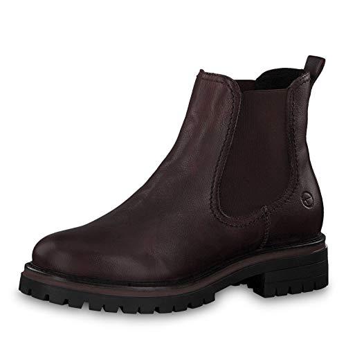Tamaris Damen Stiefeletten 25474-23, Frauen Chelsea Boots, halbstiefel Stiefelette Bootie Schlupfstiefel flach Damen,Bordeaux Leath,38 EU / 5 UK