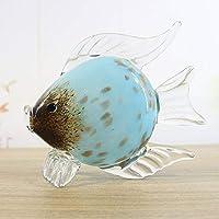 ガラス工芸ミニマリストの家具、魚、スカイブルーゴールド、スカイブルー・ゴールド (Color : Sky Blue Gold)