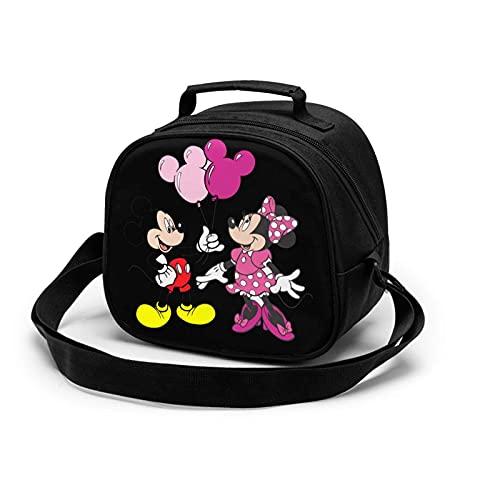 Bolsa de almuerzo ajustable para el hombro, Mickey-and-Minnie-Mouse-Png con cremallera para niños y niñas, bolsa de comida con aislamiento para la escuela, picnic, senderismo, playa