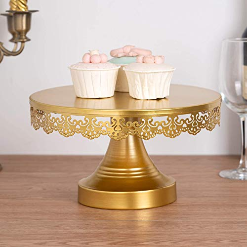 JUJOYBD Tortenplatte mit Fuß, Goldener Tortenständer, Kuchenplatte Metall, Cake Stand, Präsentation für Kuchen Torten Gebäcke Deko für Party Hochzeit, Gold, Rund 25cm