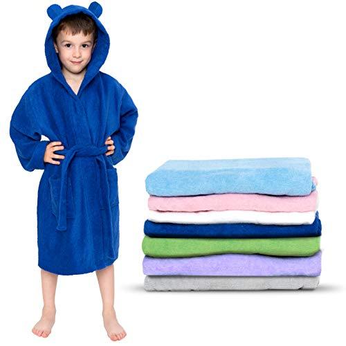 Twinzen - Peignoir Enfant Coton pour Fille et Garçon - 100% Coton Oeko-TEX® sans Produits Chimiques- 2 Poches, Ceinture, Capuche avec Oreilles,3-4 ans,Bleu