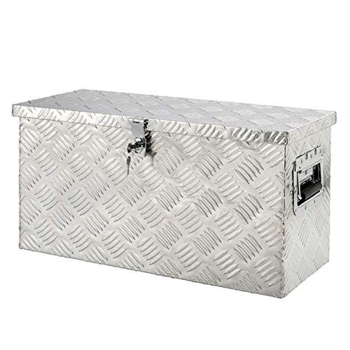 Caja de aluminio, caja de metal, maletín de aluminio, 560 x 330 x 254 mm, caja de herramientas de aluminio 14 L de chapa estriada maciza, con cerradura y 2 llaves, caja de transporte – Aluminio