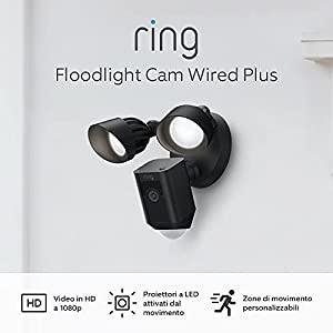 Nuovo Ring Floodlight Cam Wired Plus di Amazon – Video in HD a 1080p, proiettori LED, sirena integrata, alimentazione via cavo | Periodo di prova gratuita di 30 giorni del piano Ring Protect | Nero