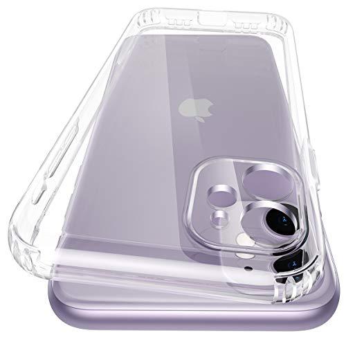 Meifigno kompatibel mit iPhone 11 Hülle, [1 Hülle+1 Panzerglas] [Voller Objektivschutz] [Tonumwandlung] [Mit Luftkissen][Transparent und Anti Gelb], Stoßfest Klar Weiche Hülle für iPhone 11 6,1