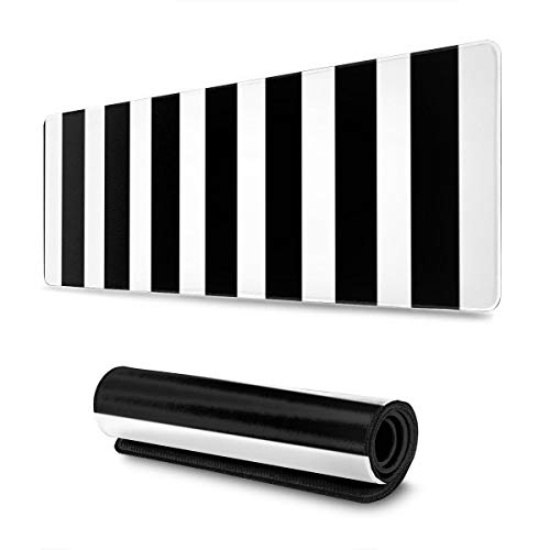 Black White Striped Gaming Mouse Pad XL, Non-Slip Rubber Base Mousepad, Stitched Edges Desk Pad, Extended Large Mice Pad,31.5×11.8 Inch